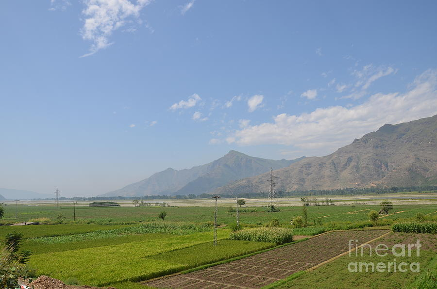 Mountains Photograph - Fields Mountains Sky And A River Swat Valley Pakistan by Imran Ahmed