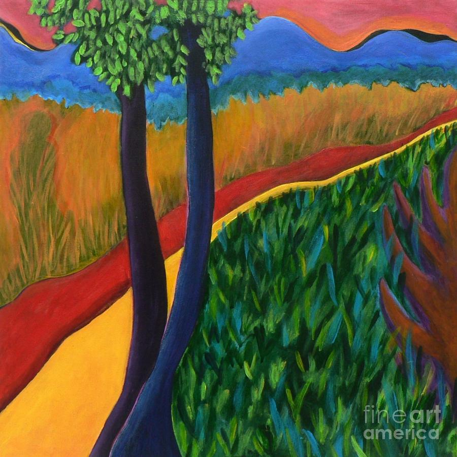 Abstract Landscape Painting - Fields Of Agave by Elizabeth Fontaine-Barr