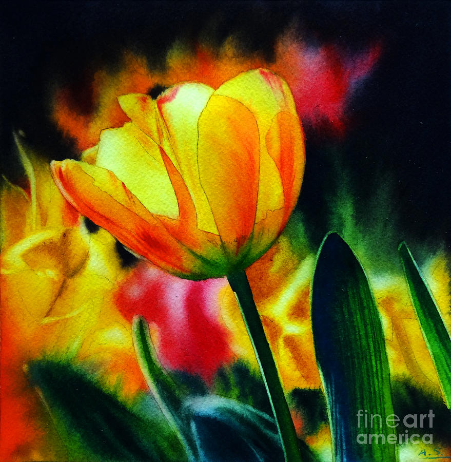 Tulip Painting - Fields Of Gold by Arena Shawn