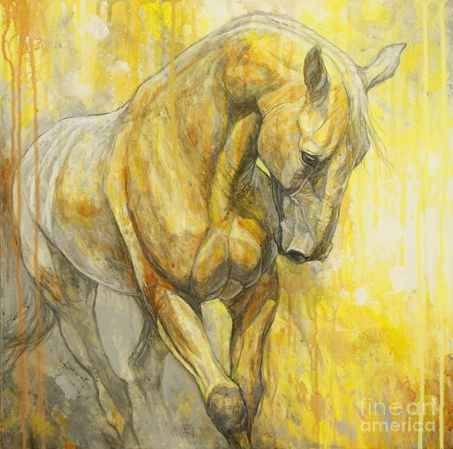 Horse Painting - Fields Of Gold by Silvana Gabudean Dobre