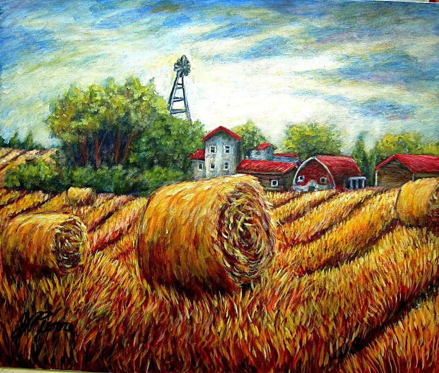 Landscape Painting - Fields Of Hay by Sebastian Pierre