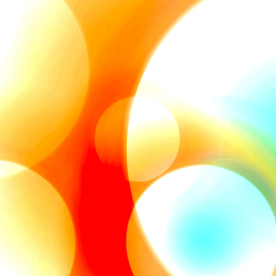 Abstract Digital Art - Fiery Bubbles by Ashley King
