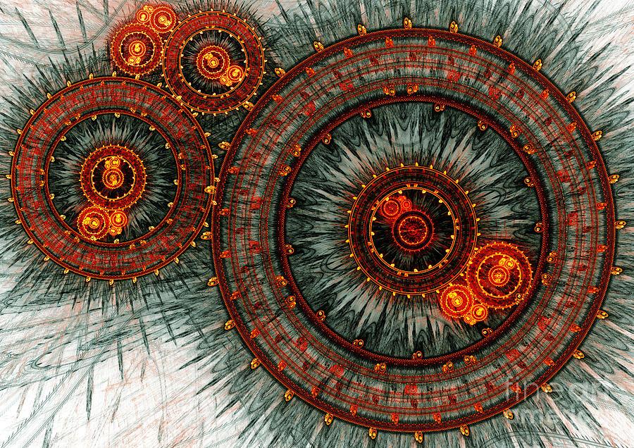 Abstract Digital Art - Fiery  Clockwork by Martin Capek