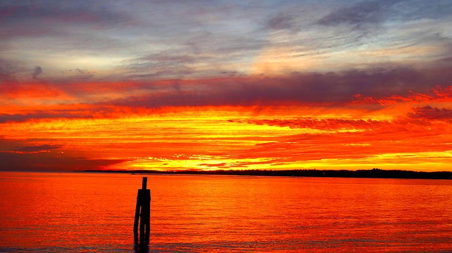 Sunset Photograph - Fiery Fall Sunset by Stephen Melcher