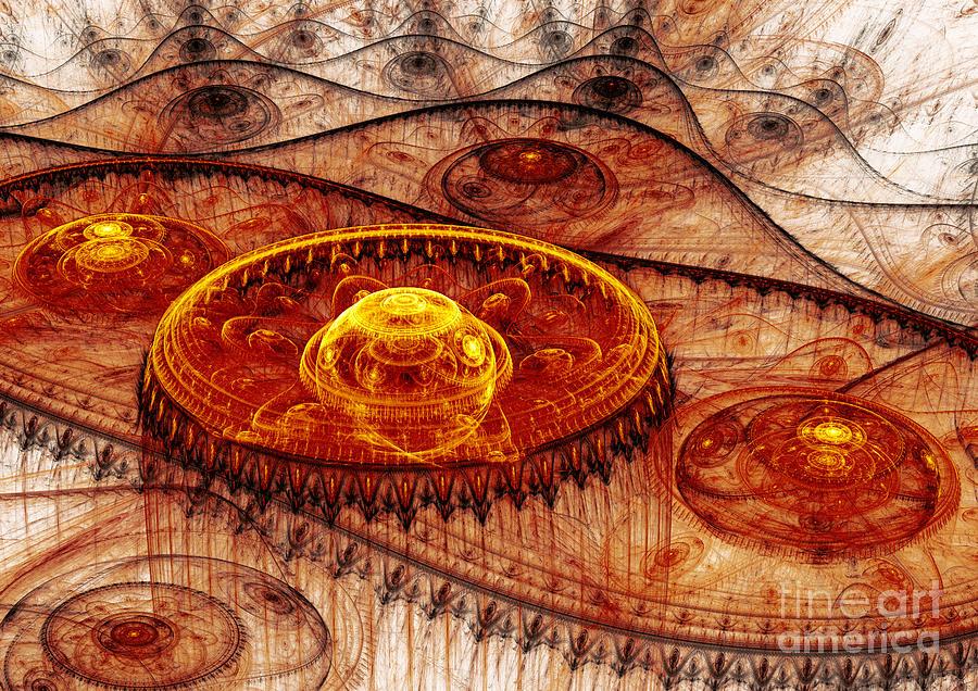 Abstract Digital Art - Fiery Fantasy Landscape by Martin Capek
