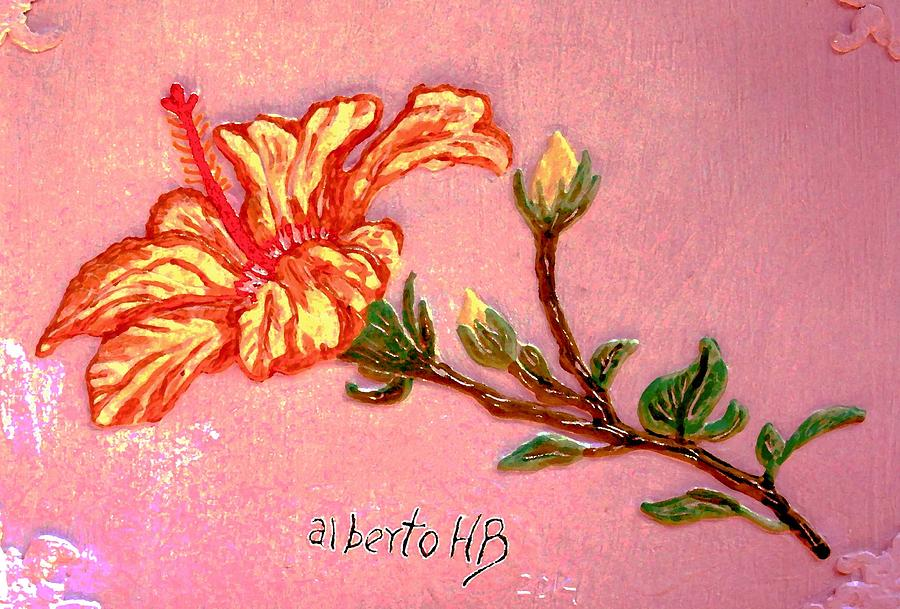 Hibiscus Sculpture - Fiery Hibiscus by Alberto H-B