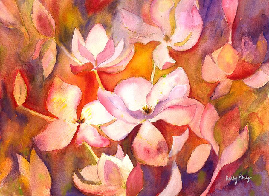 Magnolia Painting - Fiery Magnolias by Kelly Perez