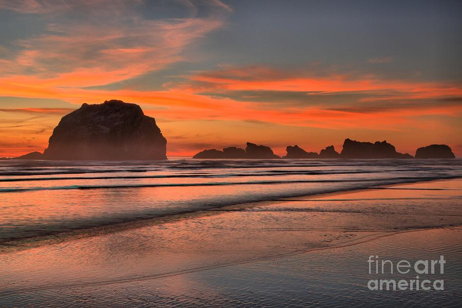 Bandon Beach Photograph - Fiery Ripples In The Surf by Adam Jewell