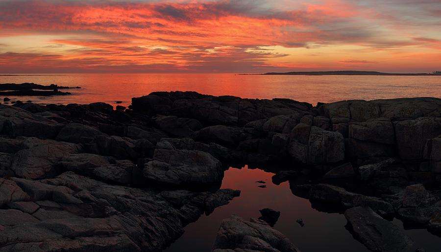 Fiery Schoodic Sunrise by Mike Farslow