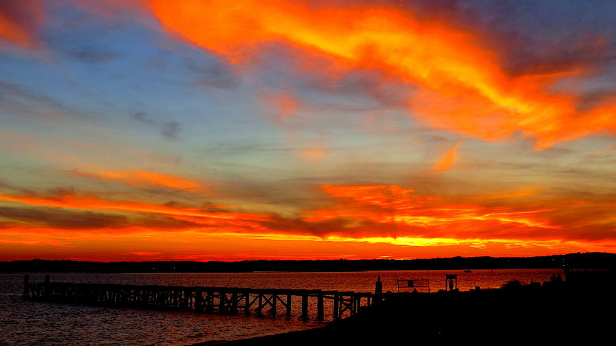 Pier Photograph - Fiery Skies And Silhouetted Pier by Stephen Melcher