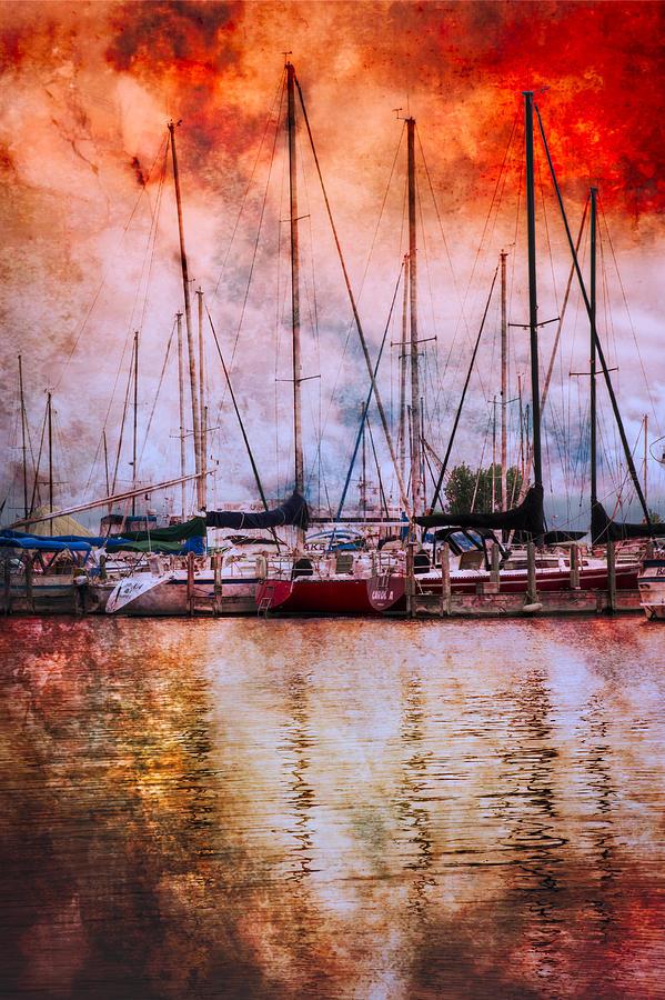 Boats Photograph - Fiery Skies by Debra and Dave Vanderlaan