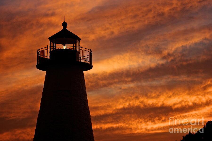 Lighthouse Photograph - Fiery Sunset by Amazing Jules