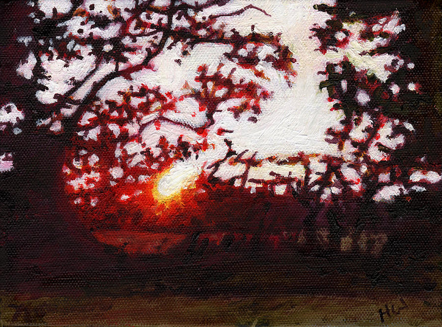 Fiery Painting - Fiery Sunset Miniature by Helen White
