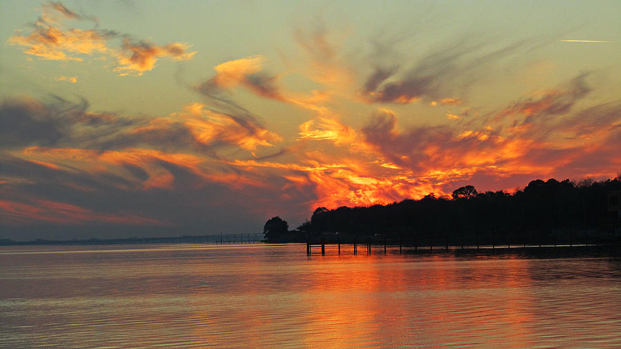 Water Photograph - Fiery Sunset by Nicole I Hamilton