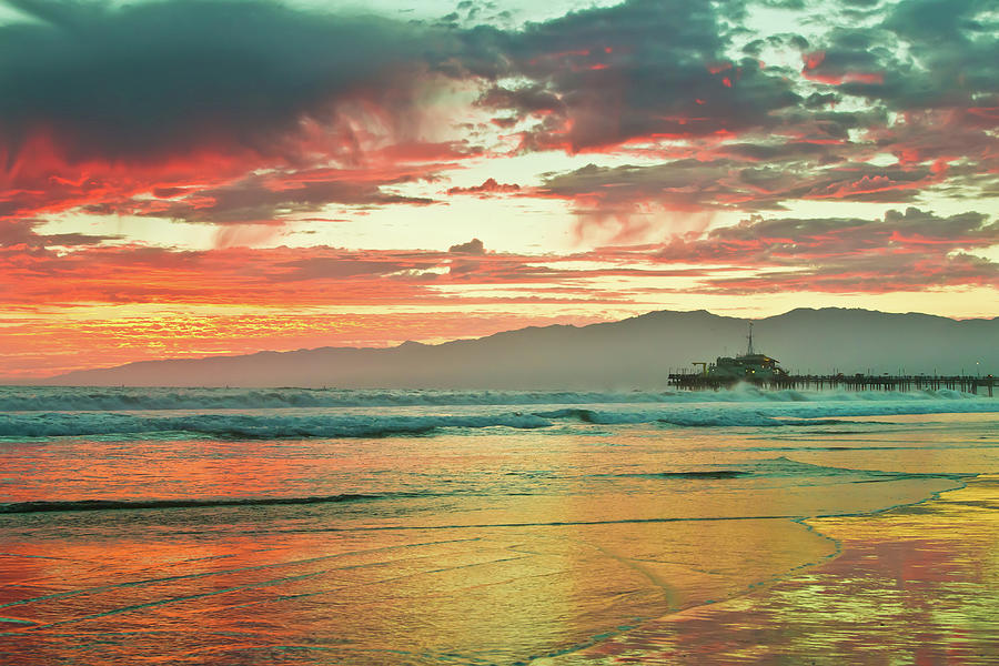Fiery Sunset Over Santa Monica Beach Photograph by Onny Carr