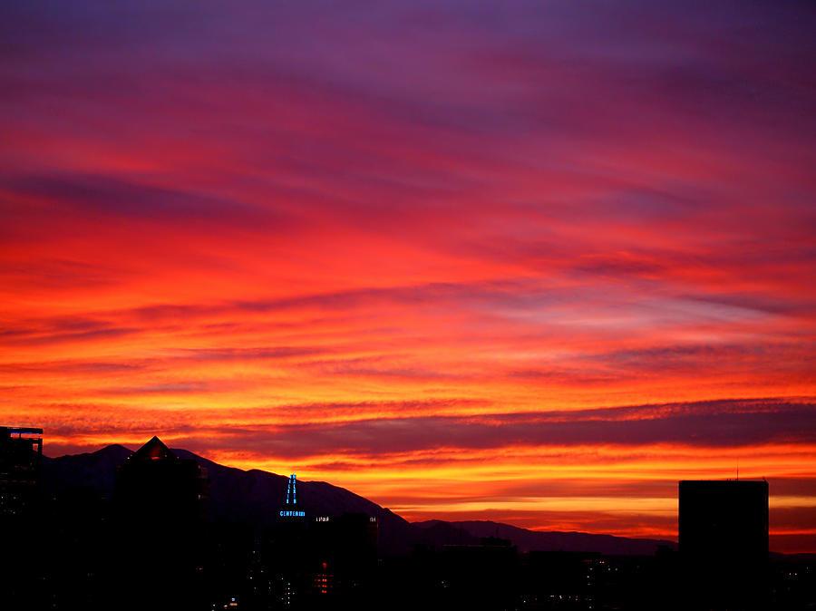 Salt Lake City Photograph - Fiery Sunset by Rona Black