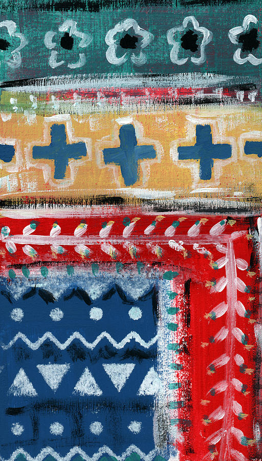 Fiesta Mixed Media - Fiesta 3- Colorful Pattern Painting by Linda Woods