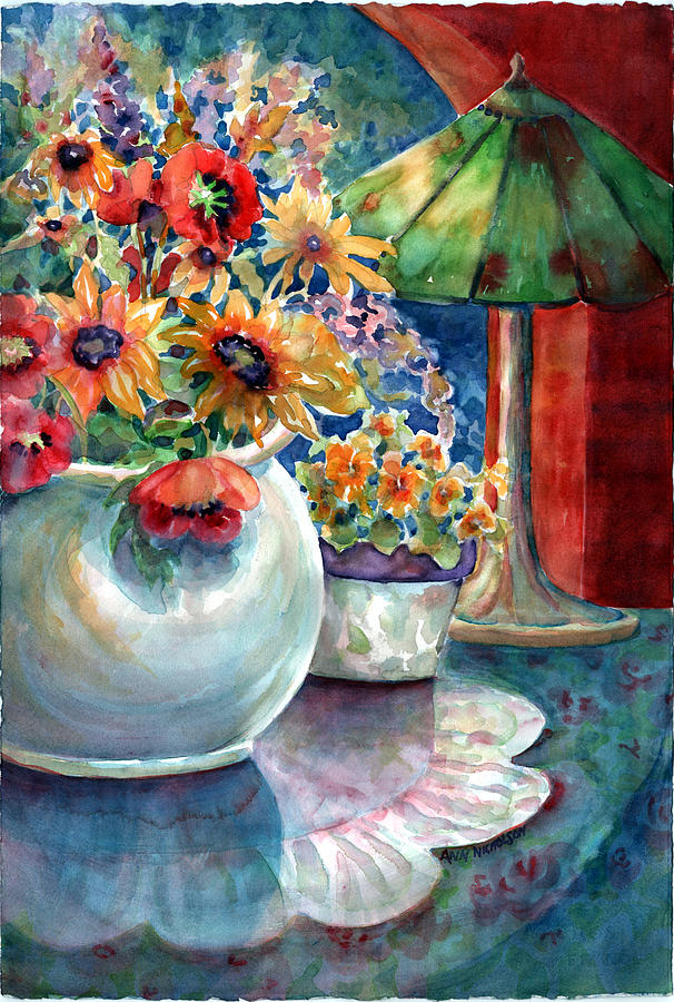 Bright Floral Painting - Fiesta Blooms by Ann  Nicholson