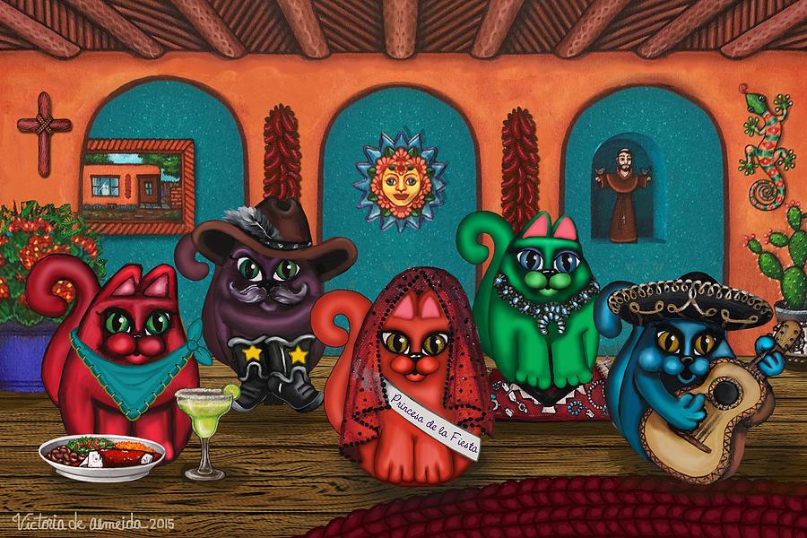Cat Painting - Fiesta Cats II by Douglas Jones