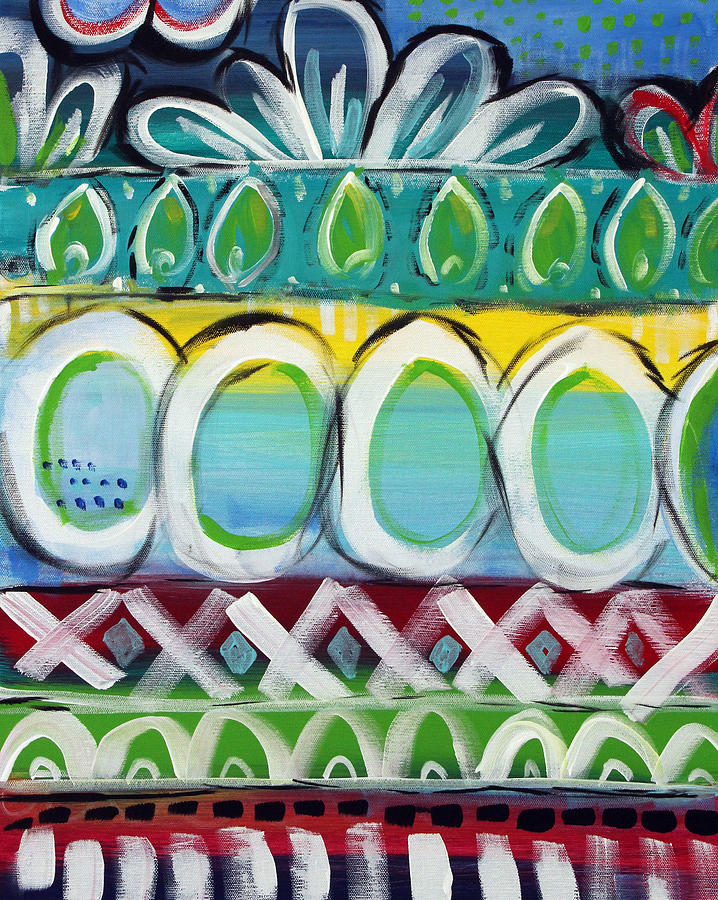 Bold Colors Painting - Fiesta - Colorful Painting by Linda Woods