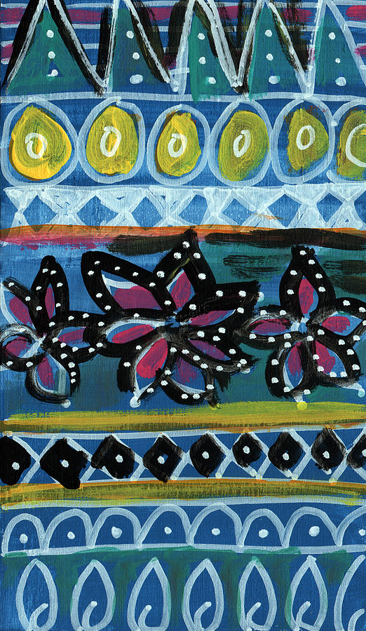 Blue Painting - Fiesta In Blues- Abstract Pattern Painting by Linda Woods