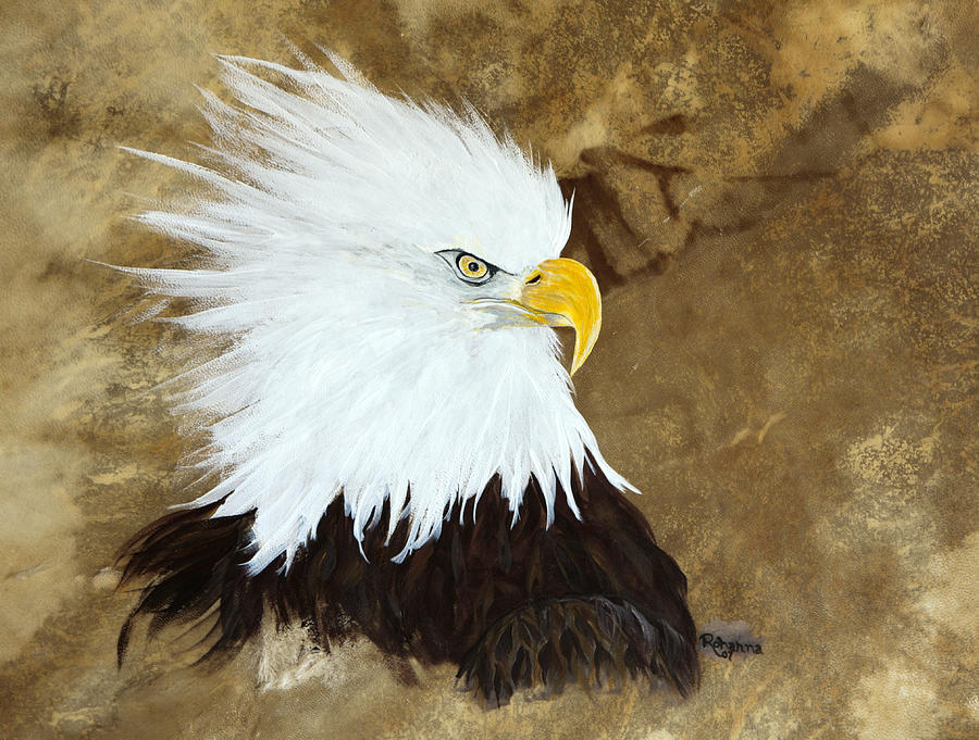 Bald Eagle Painting - Fiesty  by Judy M Watts-Rohanna