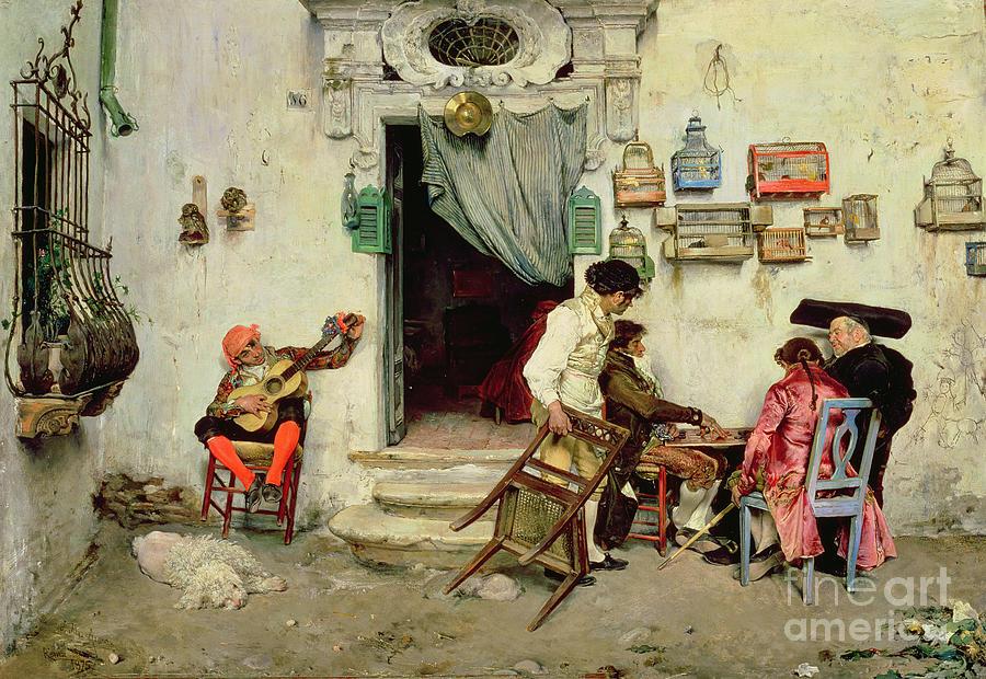 Drafts Painting - Figaros Shop by Jose Jimenes Aranda