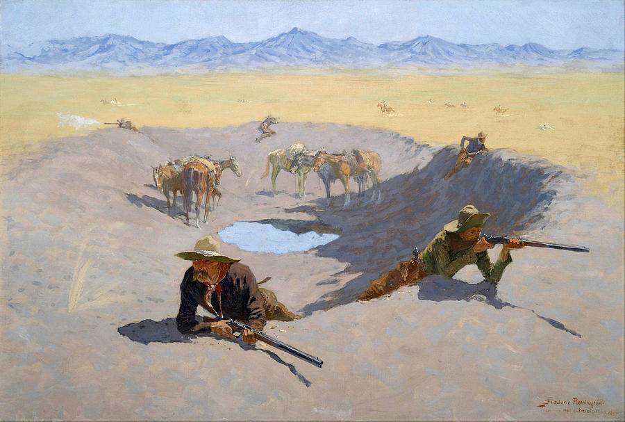 Frederic Remington Painting - Fight For The Waterhole by Frederic Remington