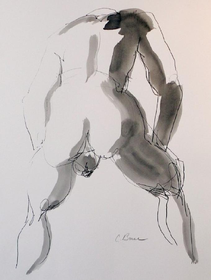 Male Drawing - Figure 2 Male Nude by Craig  Bruce