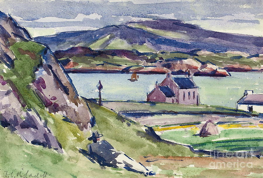 Cadell Painting - Figure And Kirk   Iona by Francis Campbell Boileau Cadell