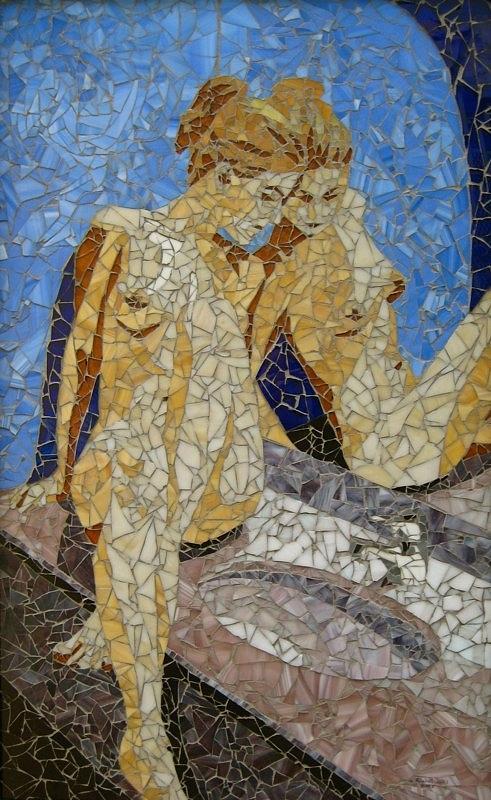 Mosaic Mixed Media - Figure Looking At Her Reflection by Rachel Van der pol
