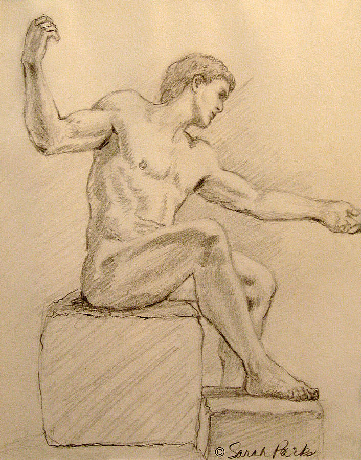Figurative Drawing - Figure On A Rock by Sarah Parks