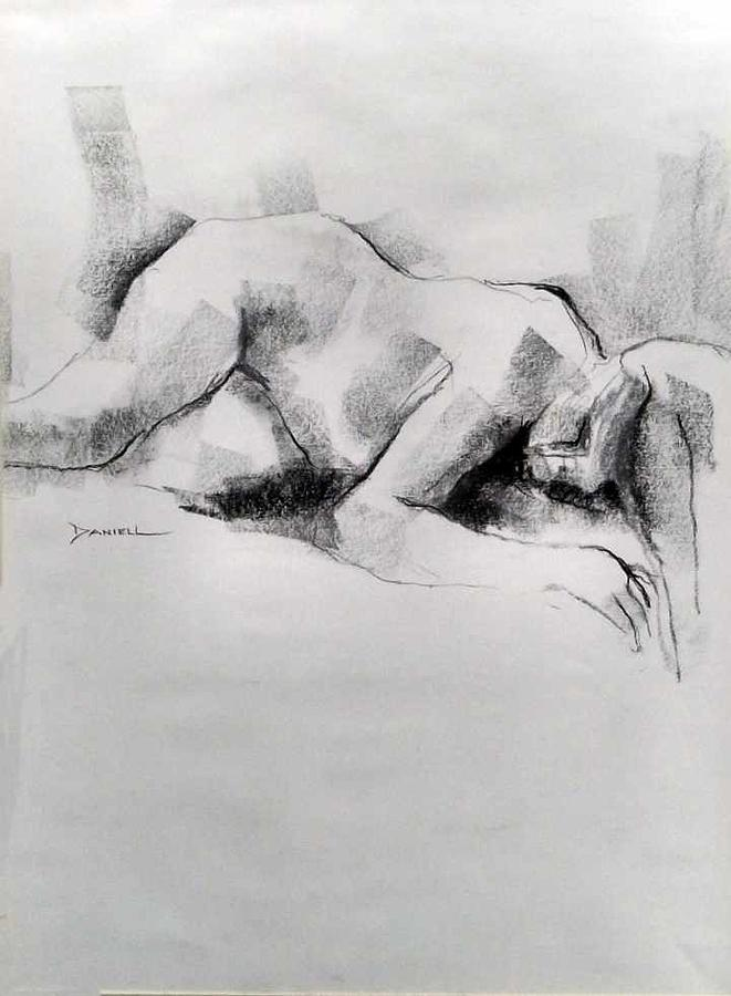 Nude Female Figure Drawing - Figure Study by Frank Daniell