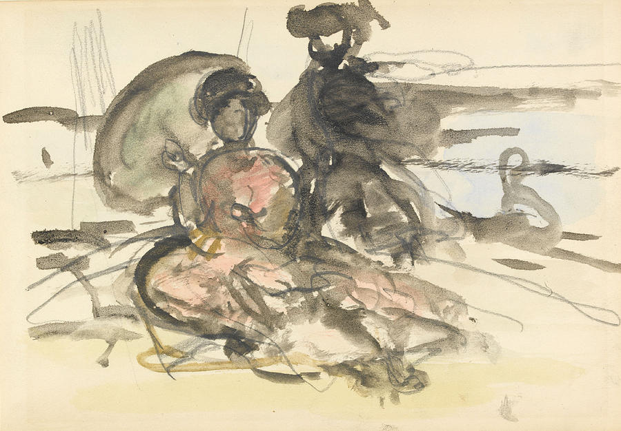 Figure Drawing - Figure Study Two Women Seated by Philip Wilson Steer