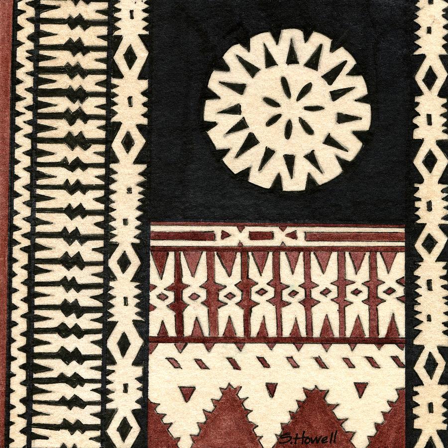 Fijian Tapa Cloth Painting by Sandi Howell