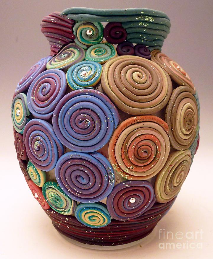 Filigree Vase Mixed Media By Alene Sirott Cope