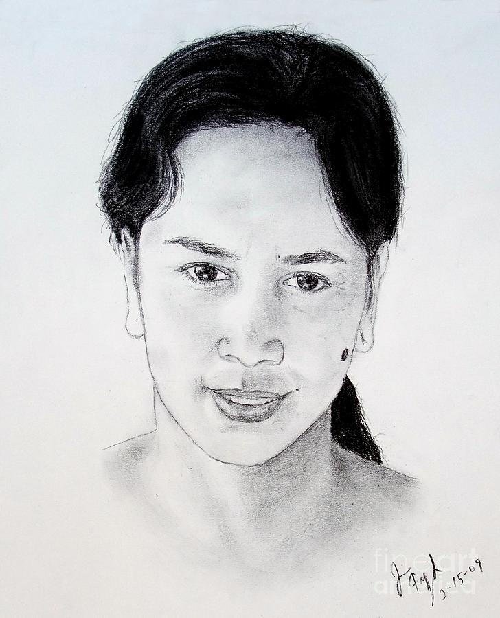 Filipina Drawing - Filipina Beauty With A Mole On Her Cheek by Jim Fitzpatrick