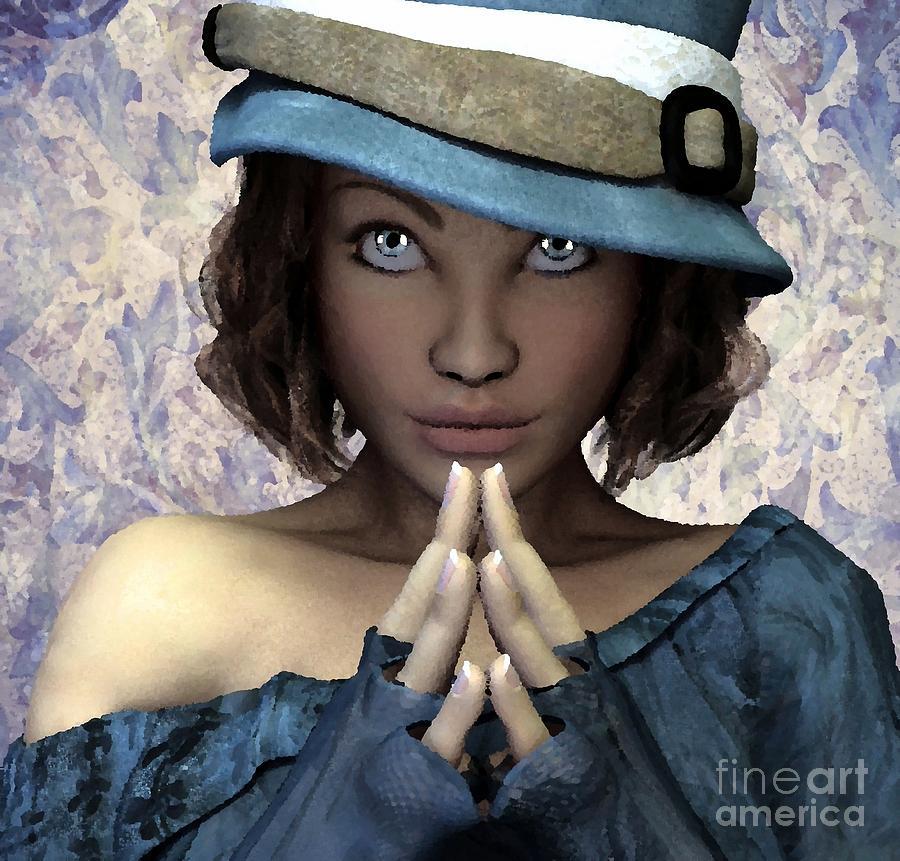 Fille Painting - Fille Au Chapeau by Sandra Bauser Digital Art