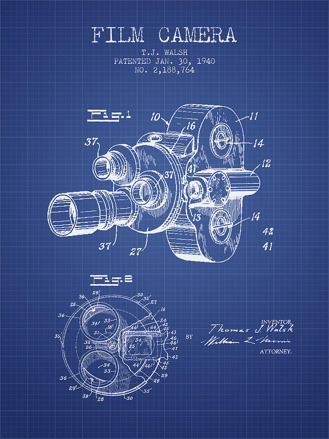Film camera patent from 1940 blueprint digital art by aged pixel camera digital art film camera patent from 1940 blueprint by aged pixel malvernweather Choice Image