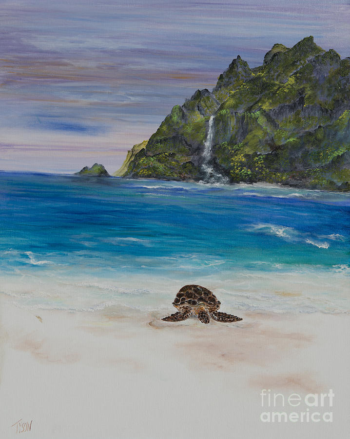Sea Turtle Painting - Finally Made It by John Garland  Tyson