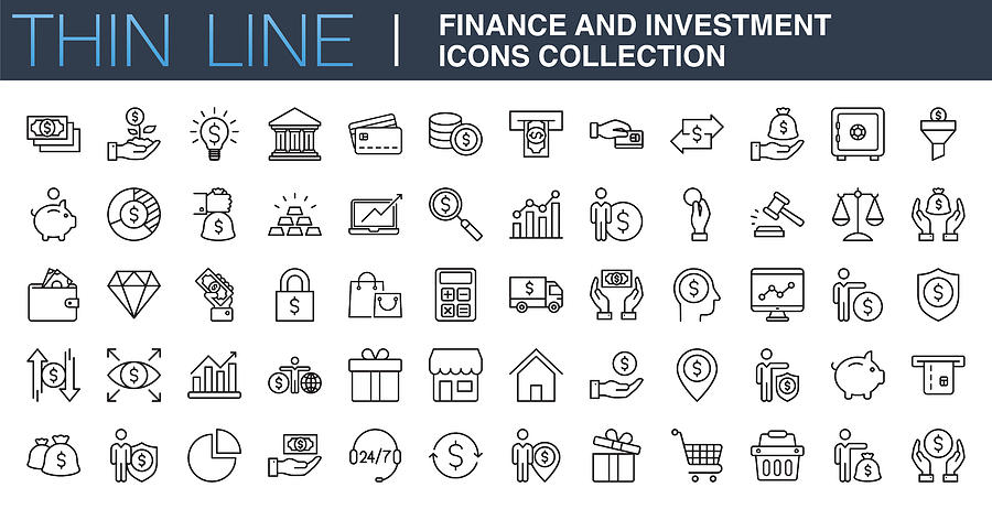 Finance and Investment Icons Collection Drawing by Phototechno