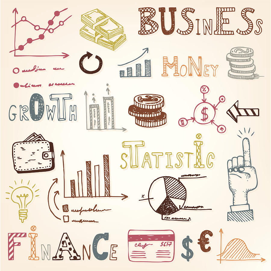 Finance doodle set Drawing by YummySuperStar