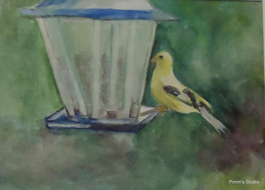 Bird Feeder Painting - Finch by Betty Pimm
