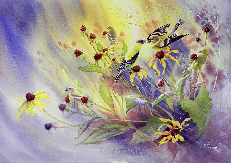 Goldfinches Painting - Finches To The Feast by Gail Vass