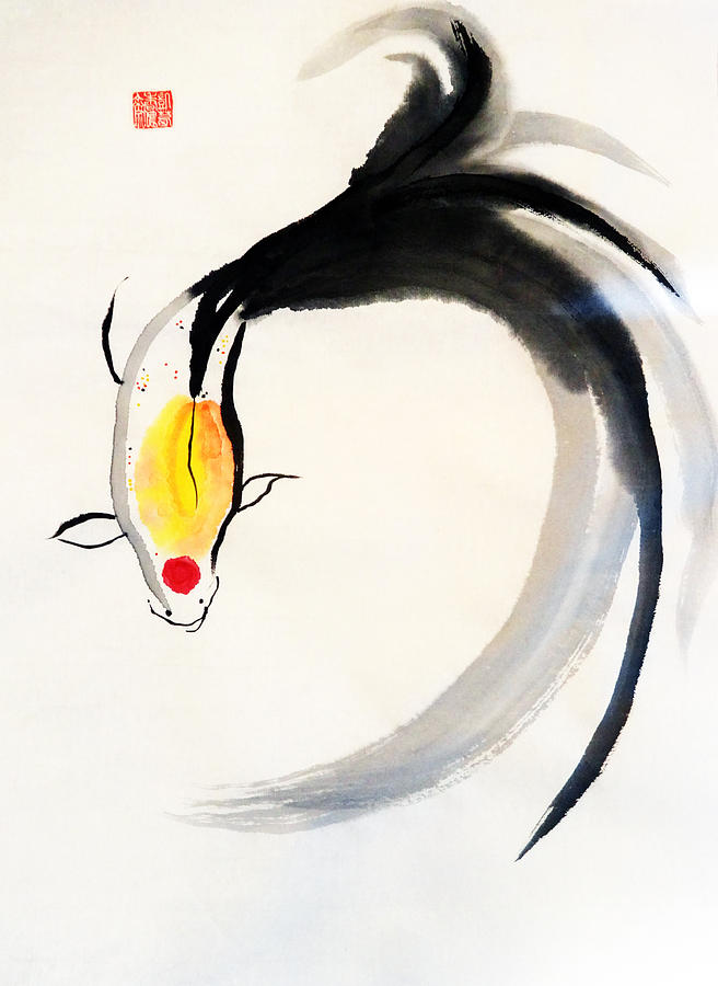 Sumi-e Painting - Finding The Flow by Casey Shannon