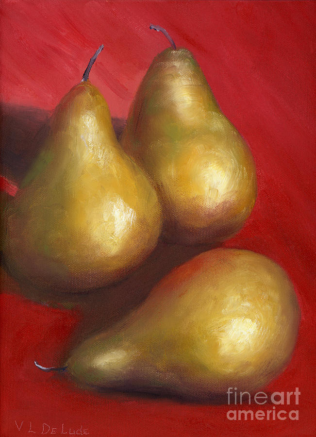 Red Painting - Fine Art Hand Painted Golden Pears Red Background by Lenora  De Lude