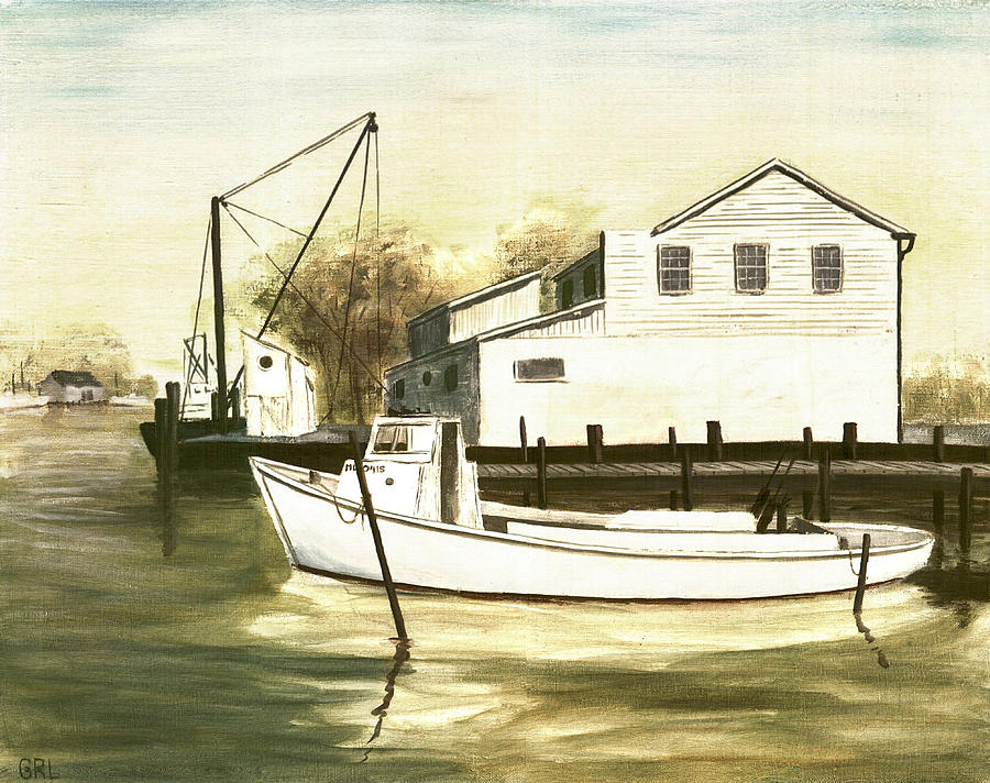 Boat Painting - Fine Art Traditional Oil Painting Solomons Island by G Linsenmayer