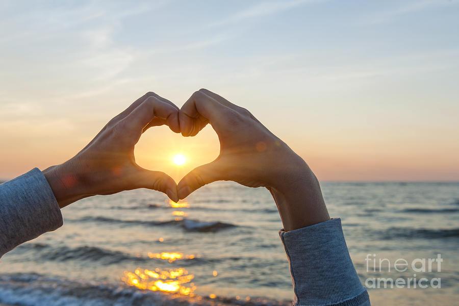 Heart Photograph - Fingers Heart Framing Ocean Sunset by Elena Elisseeva
