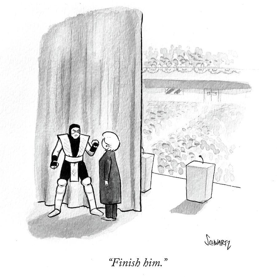 Cartoon Drawing - Finish by Benjamin Schwartz