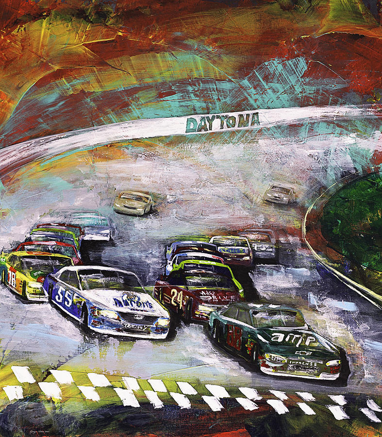 Nascar Painting - Finish Line by Gray  Artus
